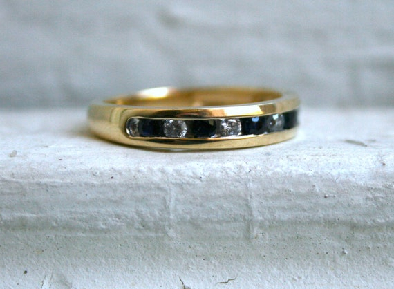 Vintage Channel 14K Yellow Gold Sapphire and Diamond Wedding Band - 0.44ct.