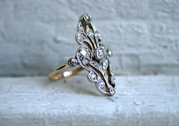 Spectacular Ornate Victorian Platinum/Rose Gold Diamond Ring - 0.85ct.
