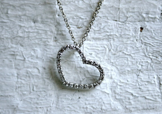 RESERVED - Vintage 18K White Gold Open Heart Diamond Pendant with Chain.