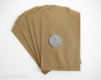 200 Small Brown Kraft Paper Bags- 2.75 x 4 inches, Favor or Utensil Bag