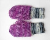 Hand Knitted Mittens - Gray and Violet, Size Small - UnlimitedCraftworks
