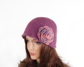 Crochet Cloche Hat with Crochet Flower - Light Violet