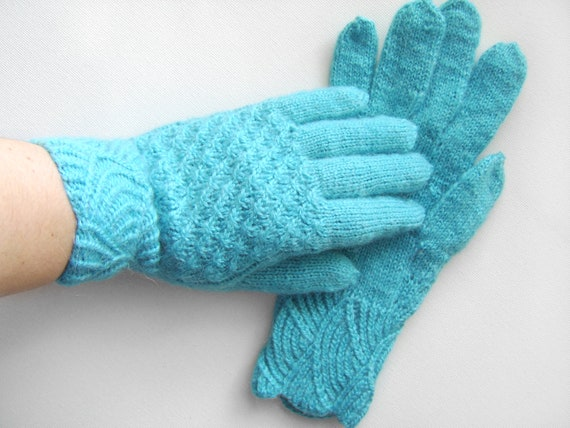 Hand Knitted Gloves - Blue Mohair