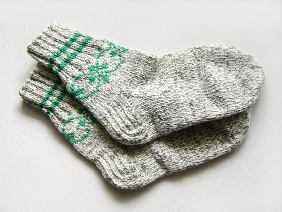 Hand Knitted Wool Socks - White and Gray
