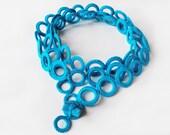 Turquoise neckwarmer cashmere crochet Handmade by Aliquid - AliquidTextileJewels
