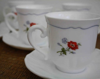 SALE Vintage French cups and saucers, set of five, French decor, Arcopal, floral cups and saucers