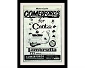 "LAMBRETTA Scooter & Hats Art Ad, ""Cento"" Vintage Advertising Wall Decor Print"