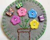 Hand Embroidered Brooch, Grey Flowers in Pot, Fimo Butterflies