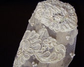 Fingerless Bridal Gloves French Alancon Needle Lace Satin Covered Buttons Sequins Loaded with Pearl Clusters Cutom Couture