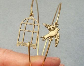 Bird and Cage Bangle 2 Bracelet Set