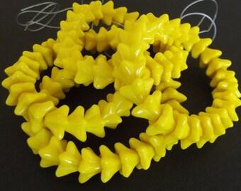 Czech Glass Beads - Yellow Bell Glass Flower Beads, 5 Petals, 6x8mm - 12 beads