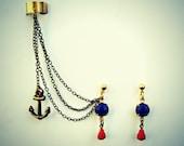 anchor ear cuff, anchor earrings, nautical ear cuff, nautical earrings, red and blue earrings, unique earrings