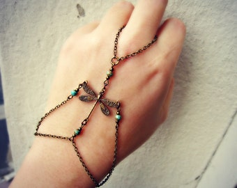 dragonfly slave bracelet with turquoise beads, bracelet ring, dragonfly ring, turquoise ring, dragonfly accessory