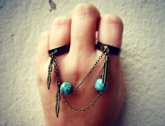 turquoise and feather double ring, slave ring, connected rings, chain rings, tribal ring, unique ring