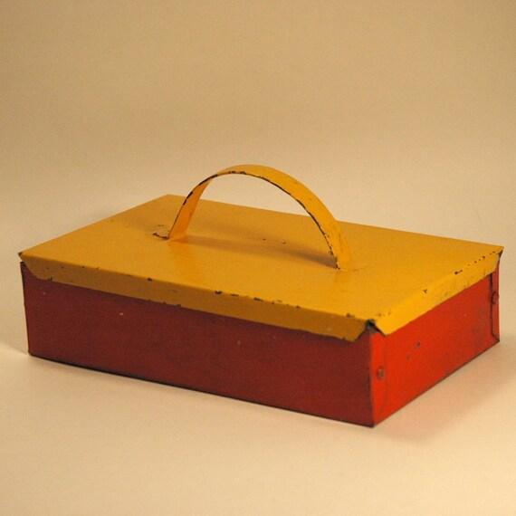 Vintage Small Red Yellow Handmade Metal Storage Box