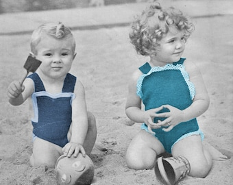 1930s Girls and Boys Bathing or Sunsuits 1940s - Knit patterns PDF 4518
