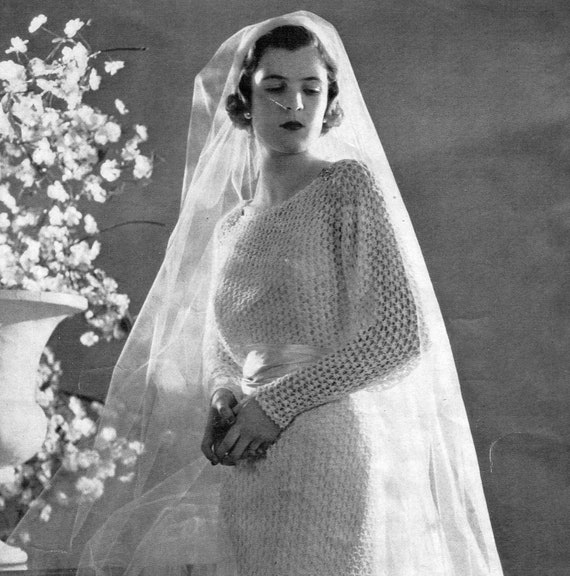 PDF 1930s Wedding Dress or Evening Gown Lacy - Knit pattern PDF 3801