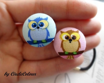 OWL Ponytail - Boy & Girl OWL Fabric Covered Button Ponytail - Black Elastic Hair Band - 2pc Set Hairties