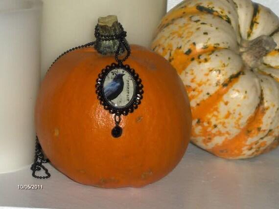 Nevermore Necklace Edgar Allen Poe Raven Cameo Halloween Cameo Nevermore