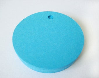 25 SOUTHBEACH BLUE Circle Hang Tag, Gift Tag, Price Tag Die cuts punches cardstock 1.5 inch -Scrapbook, cards