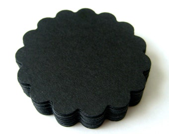 25 BLACK Scallop Die cuts punches cardstock -Scrapbook, cards, embellishment, confetti