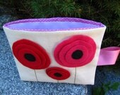 Reusable Snack Bag with Velcro Closure: Red & Pink Poppies