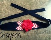 Shabby chic solid black headband with a red fabric flower and red and white CHEVRON leaves photo prop - fall -