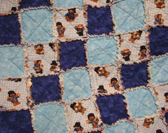 Boys Blanket, Baby rag quilt, Rag throw, stroller blanket, boys quilt, security blanket, teddy bear blanket, boys flannel, flannel rag quilt