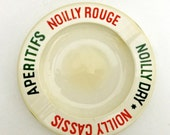 white cream colored opalex French vintage glass ashtray modern advertising France