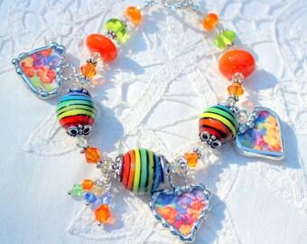 Bracelet, Broken China Jewelry, Broken China Bracelet, Handmade Rainbow Lampwork Beads, Orange and Purple Chintz