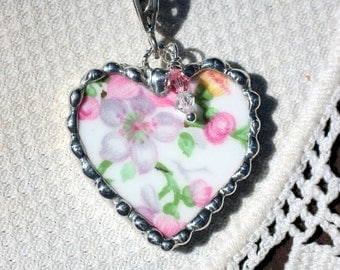 Necklace, Broken China Jewelry, Broken China Necklace, Heart Pendant, Pink and White Floral Chintz, Sterling Silver, Soldered Jewelry