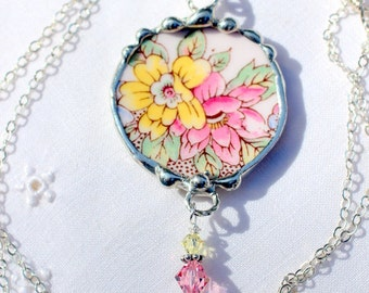 Necklace, Broken China Jewelry, Broken China Necklace, Pink and Yellow Floral China, Sterling Silver, Soldered Jewelry