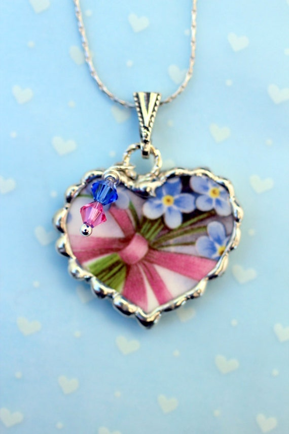 Broken China Jewelry, China Heart Pendant Necklace, Pink and Blue Floral China, Sterling Silver Chain