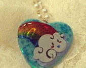 Over The Rainbow Holographic Heart Glitter Baby Blue Resin Heart Necklace
