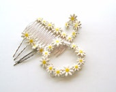 Daisy hair comb Wedding accessory silver tone Spring Summer Bridal hair comb  Flower Girl