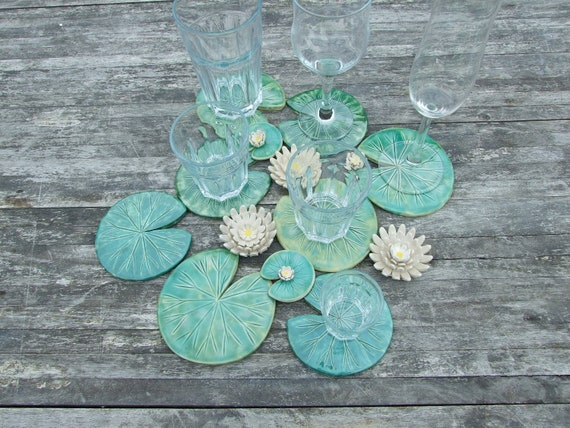 waterlily coaster ceramic coaster