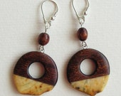 Circles Hand-carved wooden earrings with milky lemon natural baltic amber Unique Jewelry