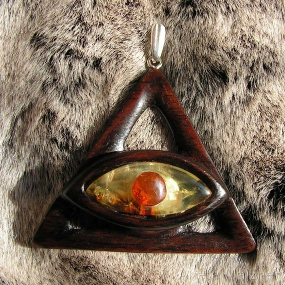 Pendant wood and baltic amber Natural stone Unique hand carved wooden jewelry