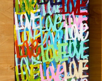 """Original love art 29"""" x 15 word art free shipping modern contemporary signed painting."""