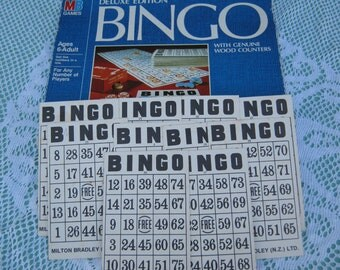 ON SALE - 1980s Vintage Black and White Bingo Cards Set of 10