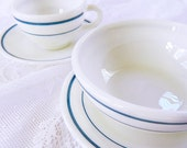 Sweet Pyrex Breakfast Set Bread Plate - Cup and Saucer - Bowl - Teal Stripe - Bright and Shiny - PYR7