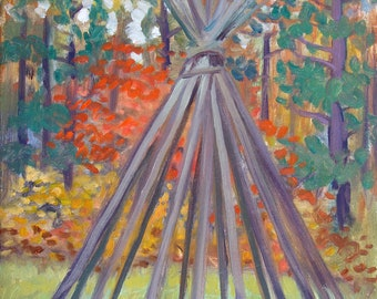 Tipi Structure, Autumn - original painting