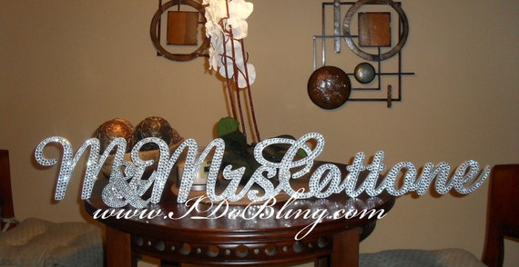 Custom Gorgeous Bling Mr & Mrs. Personalized Rhinestone Sign