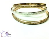 Kids Vintage Gold Dipped Cuffs Bangle Bracelets - Set of 3  in three colors- White, Yellow and Rose Gold.