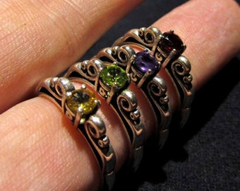 Size 7 - Choose a Gemstone - Solid Sterling Silver Scroll Ring - 4mm Natural Stone