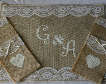 Bride and Groom place settings, Burlap wedding table decorations,