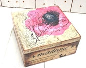 Custom Made Poppy Tea Box Shabby Tea Caddy Old Letters Kitchen Decor Antique Looking Cigar Box Gift For Men