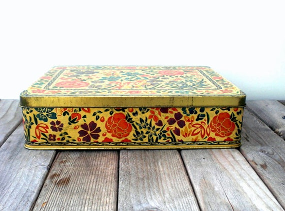 Vintage candy box / cookie tin / upcycled metal storage box / reusable gift box / made in England / gold / red orange / blue plum / flowers