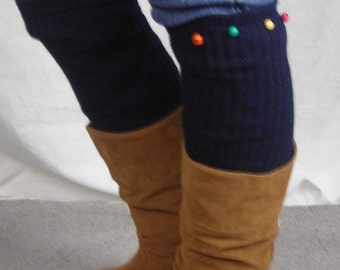 Leg Warmers  - Knit Leg Warmers - Boot Socks with colored buttons -Yoga and dance socks - Navy