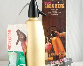 Vintage Soda King Gold Home Soda Fountain,  Vintage Bar, Tiki Bar,  Retro Bar, Selzter Bottle, Metallic Gold, Hostess